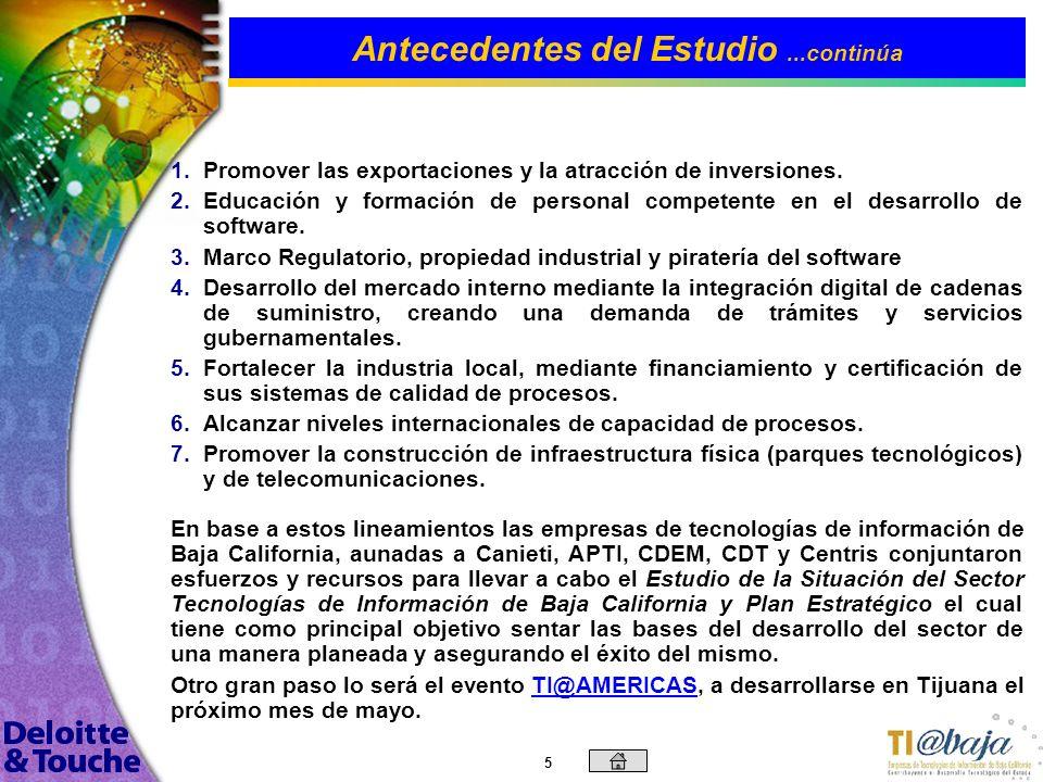4 El sector de tecnologías de información en México y en Baja California ha estado trabajando desde hace varios años en acercamientos con los mercados