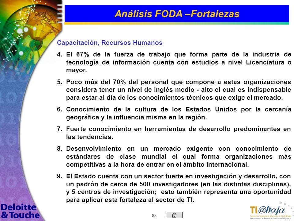 87 Análisis FODA –Fortalezas Generales 1. 1.Amplio conocimiento y experiencia en el desarrollo, venta e implantación de sistemas: Administrativos (ERP