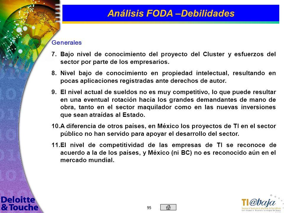 94 Análisis FODA –Debilidades Desarrollo de Recursos Humanos 1. 1.Capital de trabajo limitado para la contratación de recursos humanos en áreas primor