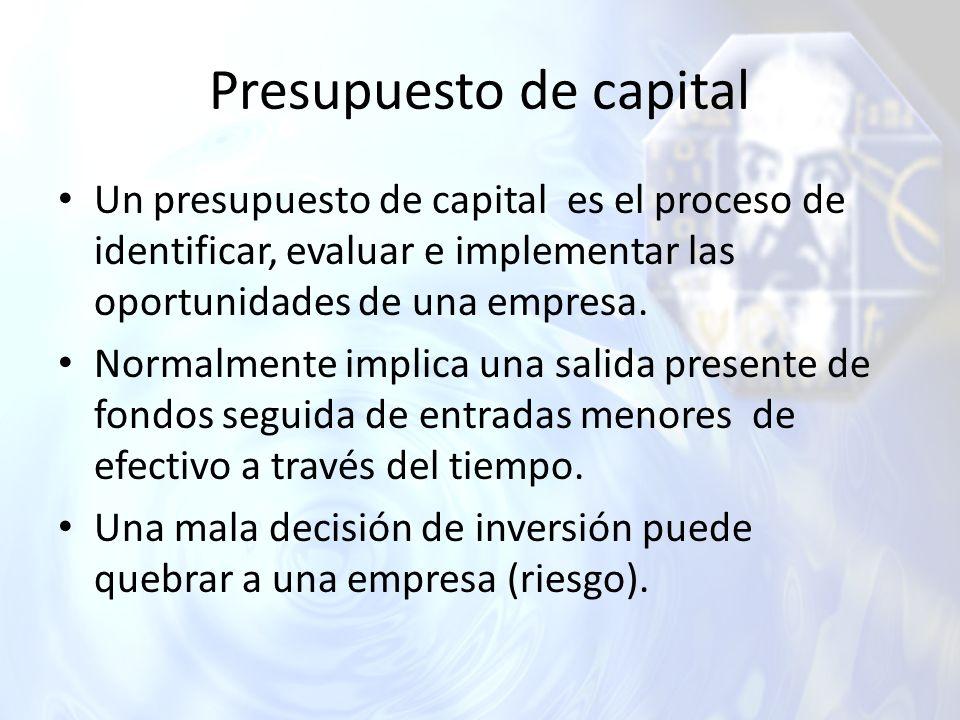 Presupuesto de capital Un presupuesto de capital es el proceso de identificar, evaluar e implementar las oportunidades de una empresa. Normalmente imp