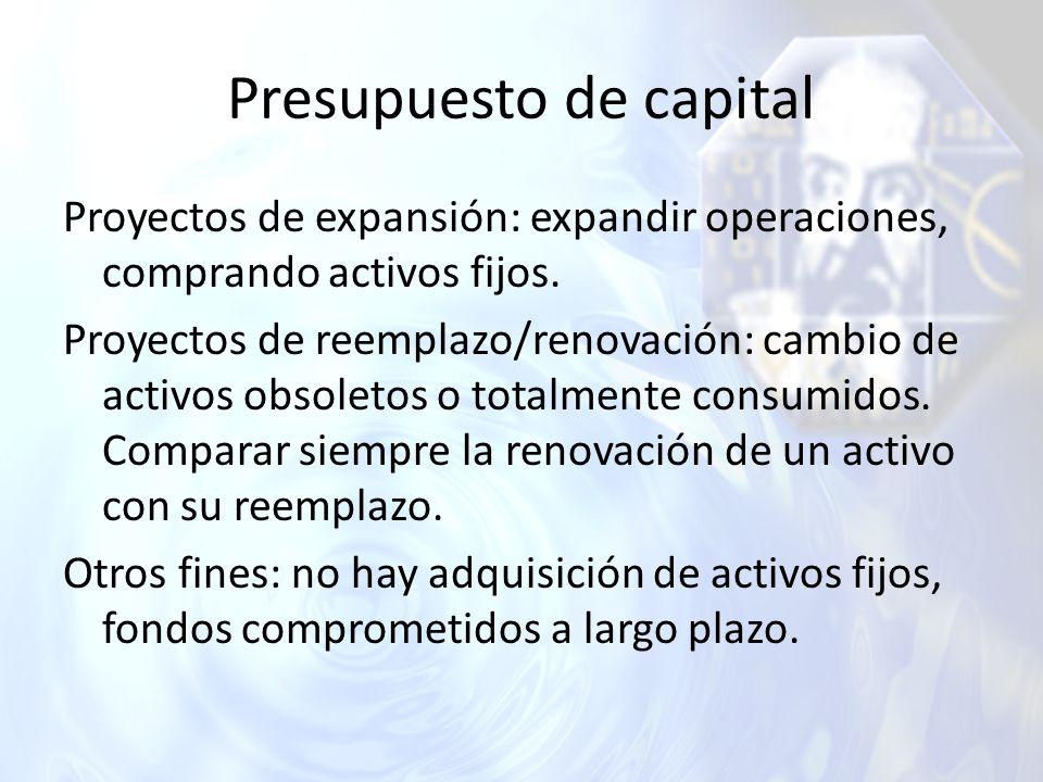 Presupuesto de capital Proyectos de expansión: expandir operaciones, comprando activos fijos. Proyectos de reemplazo/renovación: cambio de activos obs