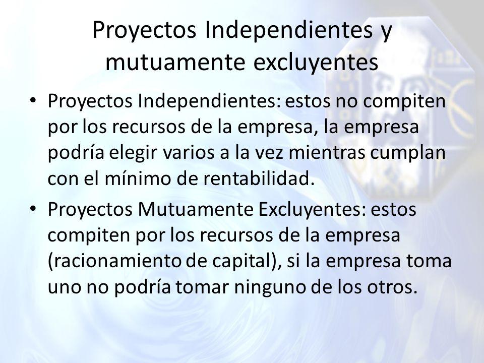 Proyectos Independientes y mutuamente excluyentes Proyectos Independientes: estos no compiten por los recursos de la empresa, la empresa podría elegir