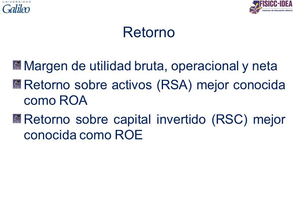 Retorno Margen de utilidad bruta, operacional y neta Retorno sobre activos (RSA) mejor conocida como ROA Retorno sobre capital invertido (RSC) mejor c
