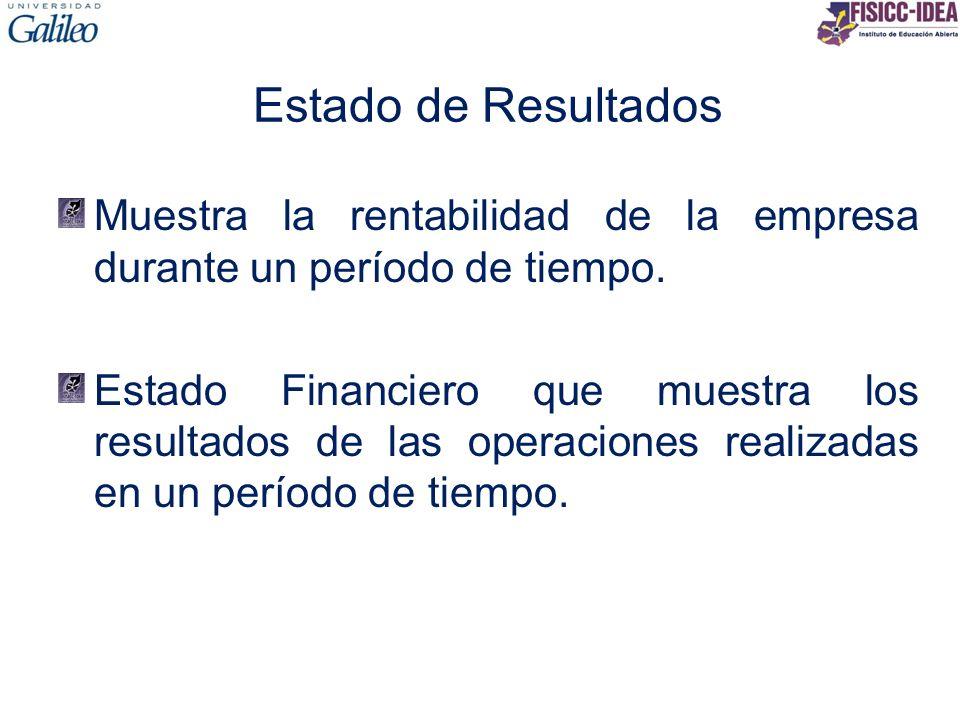Estado de Resultados Muestra la rentabilidad de la empresa durante un período de tiempo. Estado Financiero que muestra los resultados de las operacion