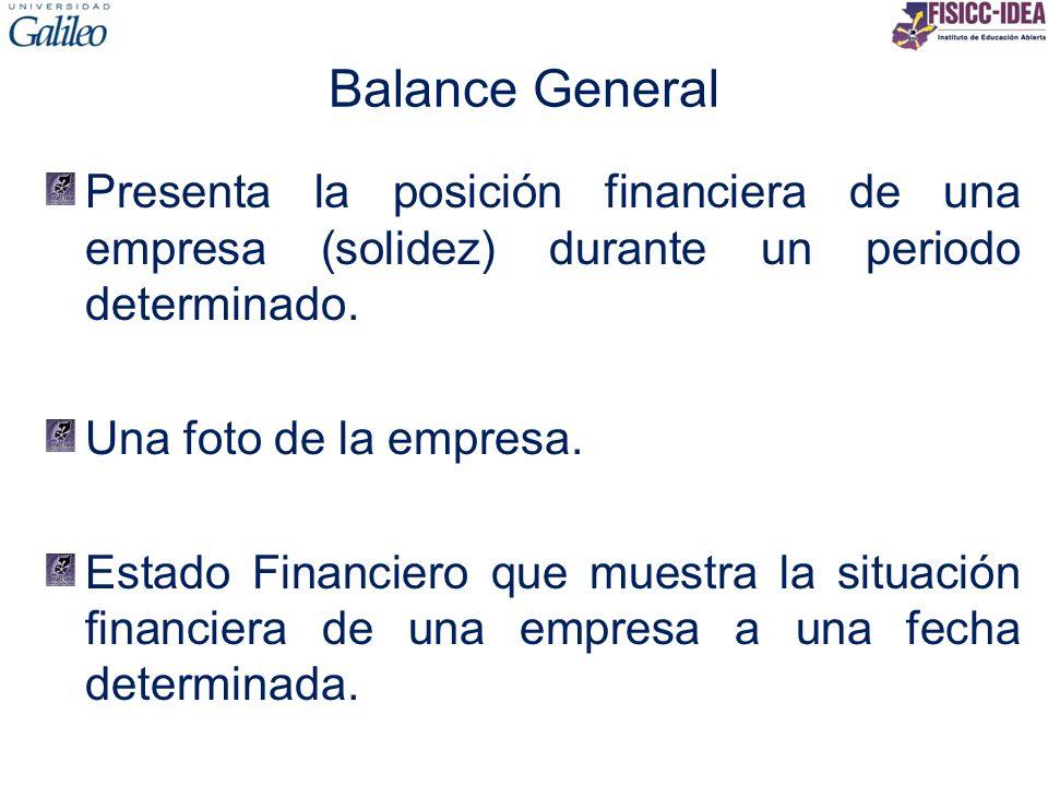 Balance General Presenta la posición financiera de una empresa (solidez) durante un periodo determinado. Una foto de la empresa. Estado Financiero que