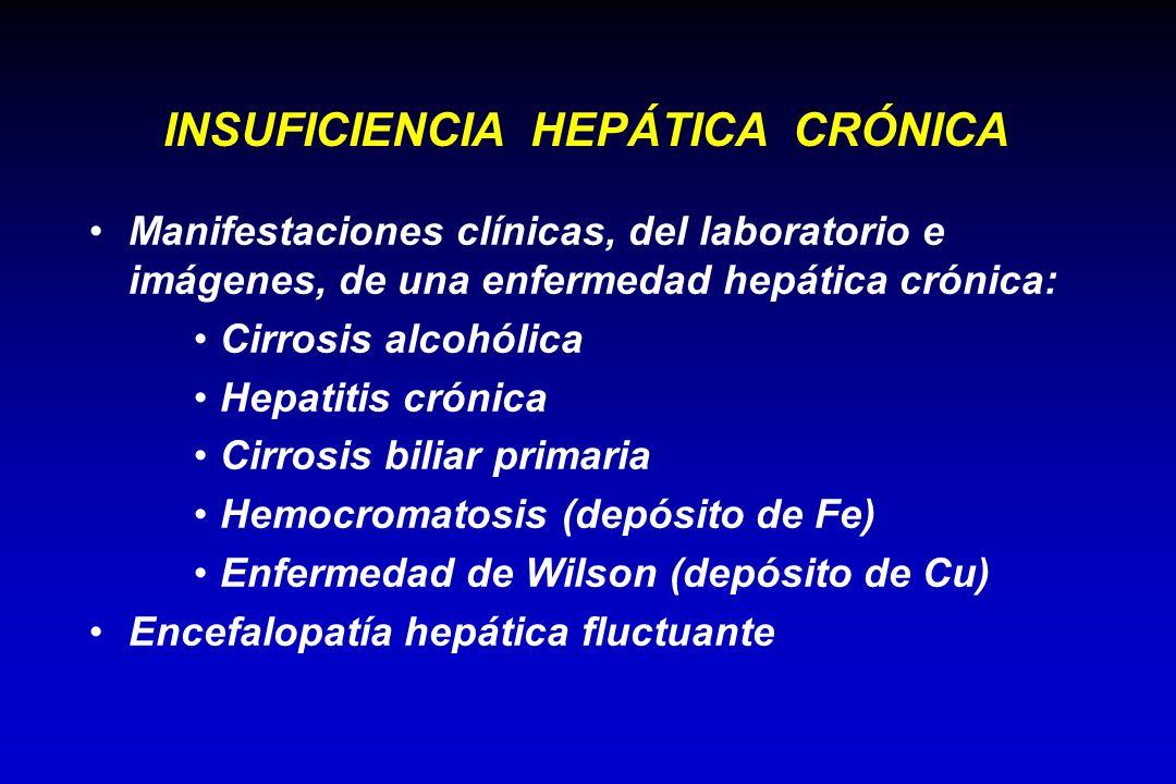 Manifestaciones clínicas, del laboratorio e imágenes, de una enfermedad hepática crónica: Cirrosis alcohólica Hepatitis crónica Cirrosis biliar primar