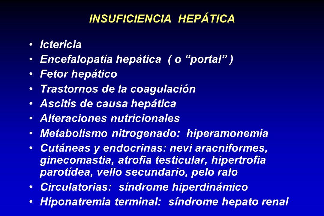 INSUFICIENCIA HEPÁTICA Ictericia Encefalopatía hepática ( o portal ) Fetor hepático Trastornos de la coagulación Ascitis de causa hepática Alteracione