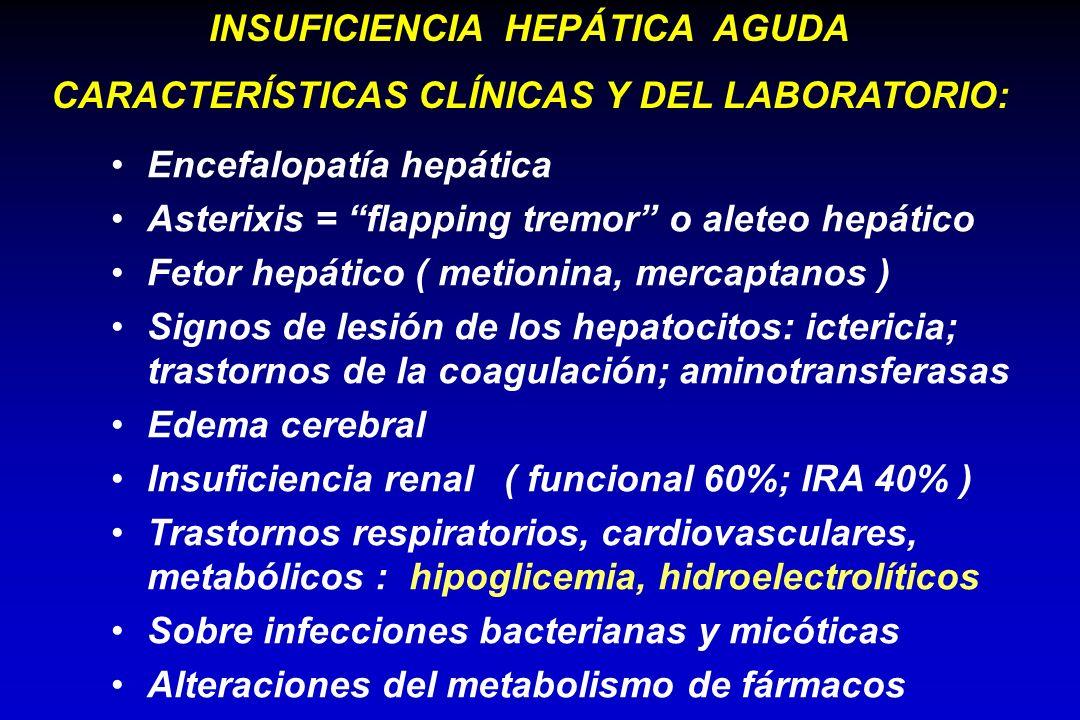 Encefalopatía hepática Asterixis = flapping tremor o aleteo hepático Fetor hepático ( metionina, mercaptanos ) Signos de lesión de los hepatocitos: ic