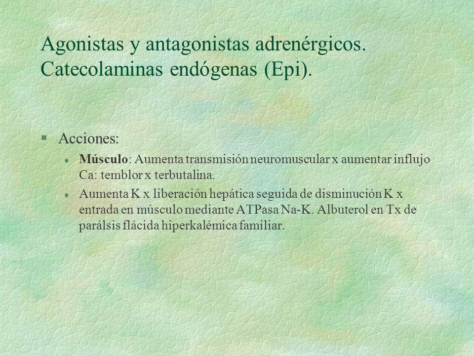 Agonistas y antagonistas adrenérgicos. Catecolaminas endógenas (Epi). §Acciones: l Músculo: Aumenta transmisión neuromuscular x aumentar influjo Ca: t
