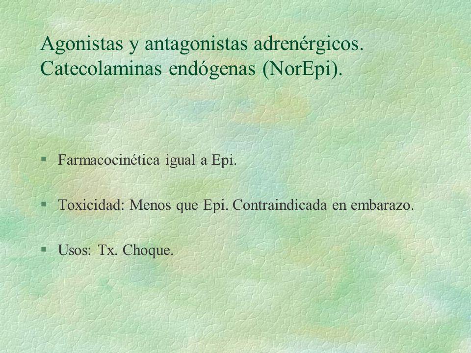 Agonistas y antagonistas adrenérgicos. Catecolaminas endógenas (NorEpi). §Farmacocinética igual a Epi. §Toxicidad: Menos que Epi. Contraindicada en em