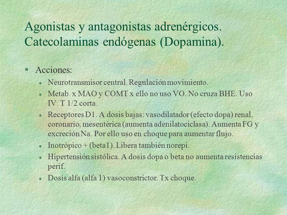 Agonistas y antagonistas adrenérgicos. Catecolaminas endógenas (Dopamina). §Acciones: l Neurotransmisor central. Regulación movimiento. l Metab. x MAO