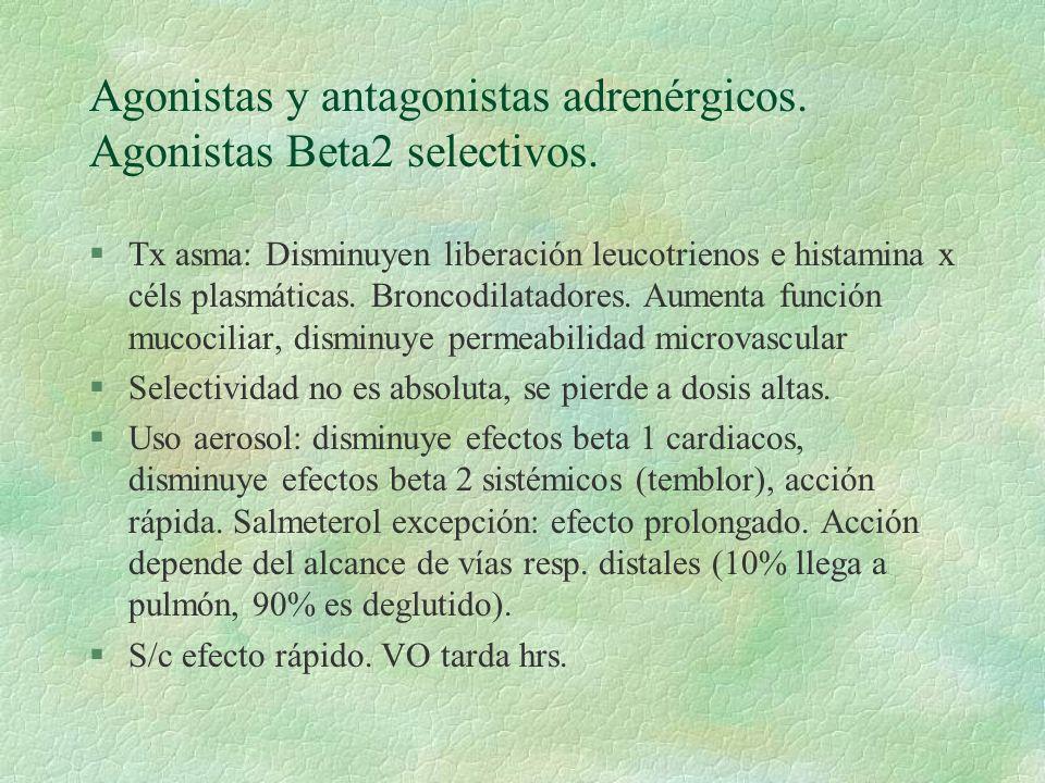 Agonistas y antagonistas adrenérgicos. Agonistas Beta2 selectivos. §Tx asma: Disminuyen liberación leucotrienos e histamina x céls plasmáticas. Bronco