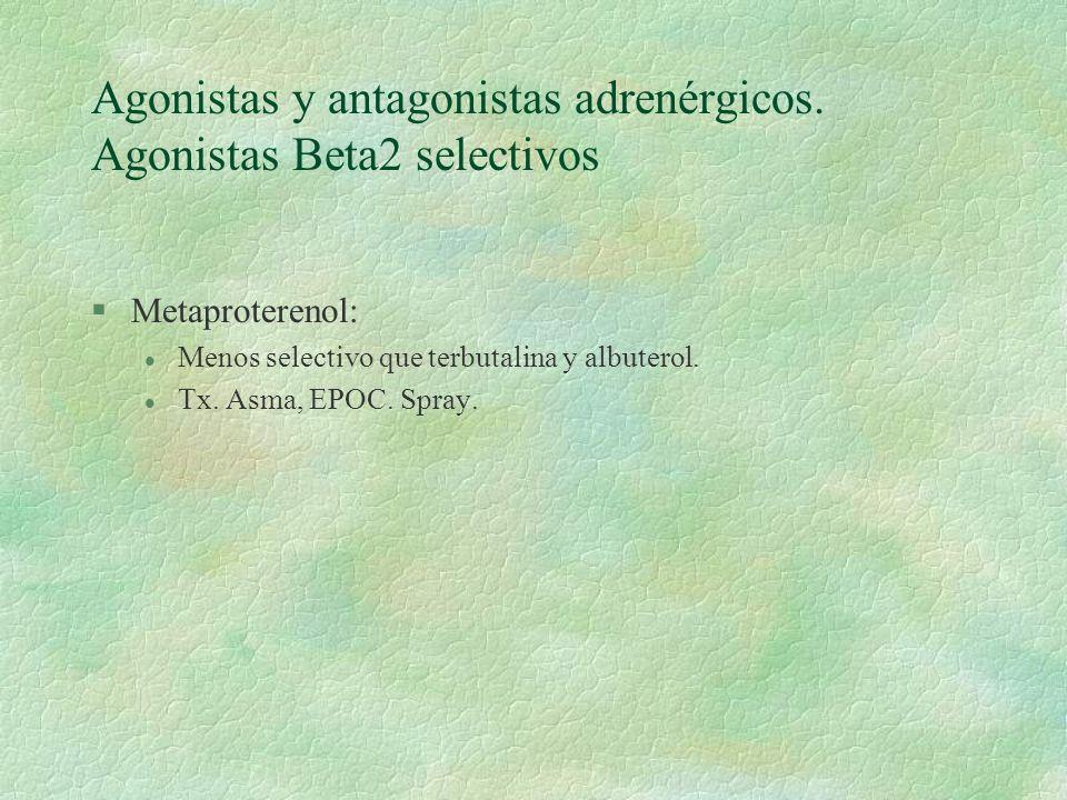 Agonistas y antagonistas adrenérgicos. Agonistas Beta2 selectivos §Metaproterenol: l Menos selectivo que terbutalina y albuterol. l Tx. Asma, EPOC. Sp
