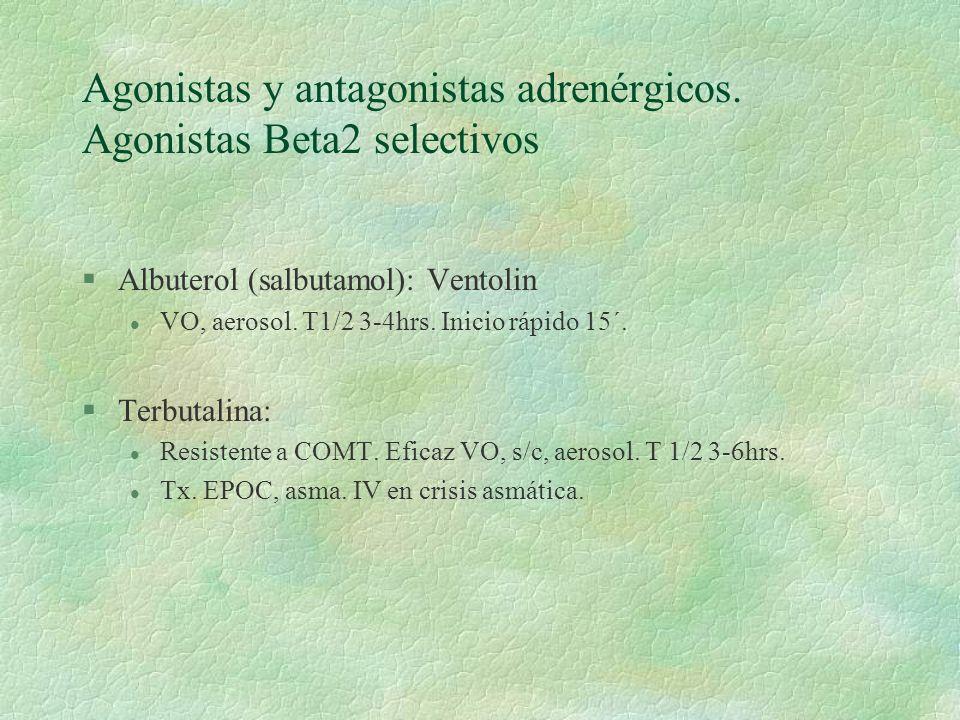 Agonistas y antagonistas adrenérgicos. Agonistas Beta2 selectivos §Albuterol (salbutamol): Ventolin l VO, aerosol. T1/2 3-4hrs. Inicio rápido 15´. §Te