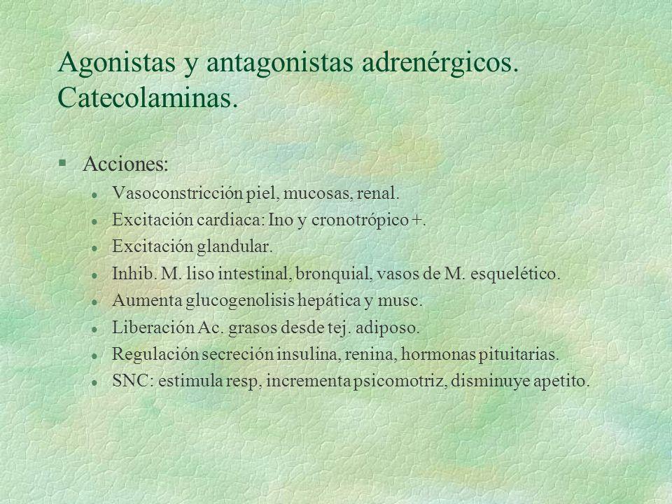 Agonistas y antagonistas adrenérgicos. Catecolaminas. §Acciones: l Vasoconstricción piel, mucosas, renal. l Excitación cardiaca: Ino y cronotrópico +.