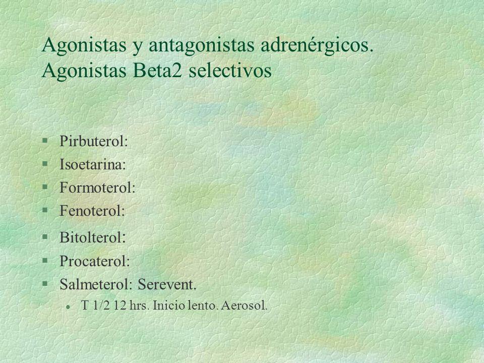 Agonistas y antagonistas adrenérgicos. Agonistas Beta2 selectivos §Pirbuterol: §Isoetarina: §Formoterol: §Fenoterol: §Bitolterol : §Procaterol: §Salme