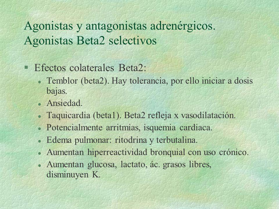 Agonistas y antagonistas adrenérgicos. Agonistas Beta2 selectivos §Efectos colaterales Beta2: l Temblor (beta2). Hay tolerancia, por ello iniciar a do