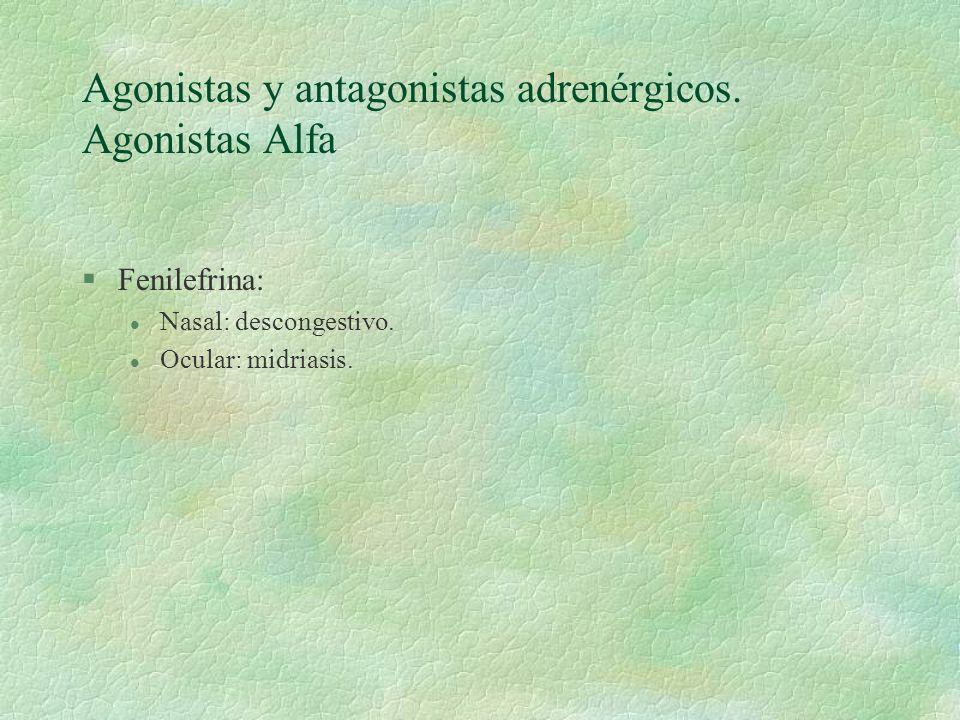 Agonistas y antagonistas adrenérgicos. Agonistas Alfa §Fenilefrina: l Nasal: descongestivo. l Ocular: midriasis.