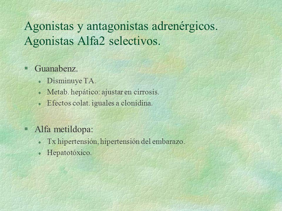 Agonistas y antagonistas adrenérgicos. Agonistas Alfa2 selectivos. §Guanabenz. l Disminuye TA. l Metab. hepático: ajustar en cirrosis. l Efectos colat