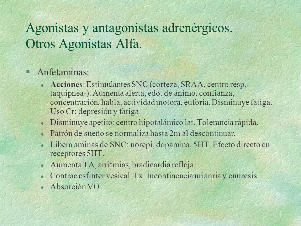 Agonistas y antagonistas adrenérgicos. Otros Agonistas Alfa. §Anfetaminas: l Acciones: Estimulantes SNC (corteza, SRAA, centro resp.- taquipnea-). Aum