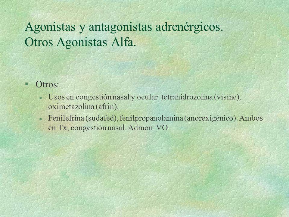 Agonistas y antagonistas adrenérgicos. Otros Agonistas Alfa. §Otros: l Usos en congestión nasal y ocular: tetrahidrozolina (visine), oximetazolina (af