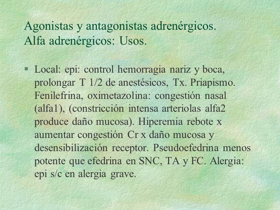Agonistas y antagonistas adrenérgicos. Alfa adrenérgicos: Usos. §Local: epi: control hemorragia nariz y boca, prolongar T 1/2 de anestésicos, Tx. Pria