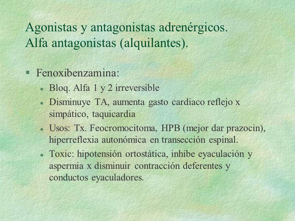 Agonistas y antagonistas adrenérgicos. Alfa antagonistas (alquilantes). §Fenoxibenzamina: l Bloq. Alfa 1 y 2 irreversible l Disminuye TA, aumenta gast