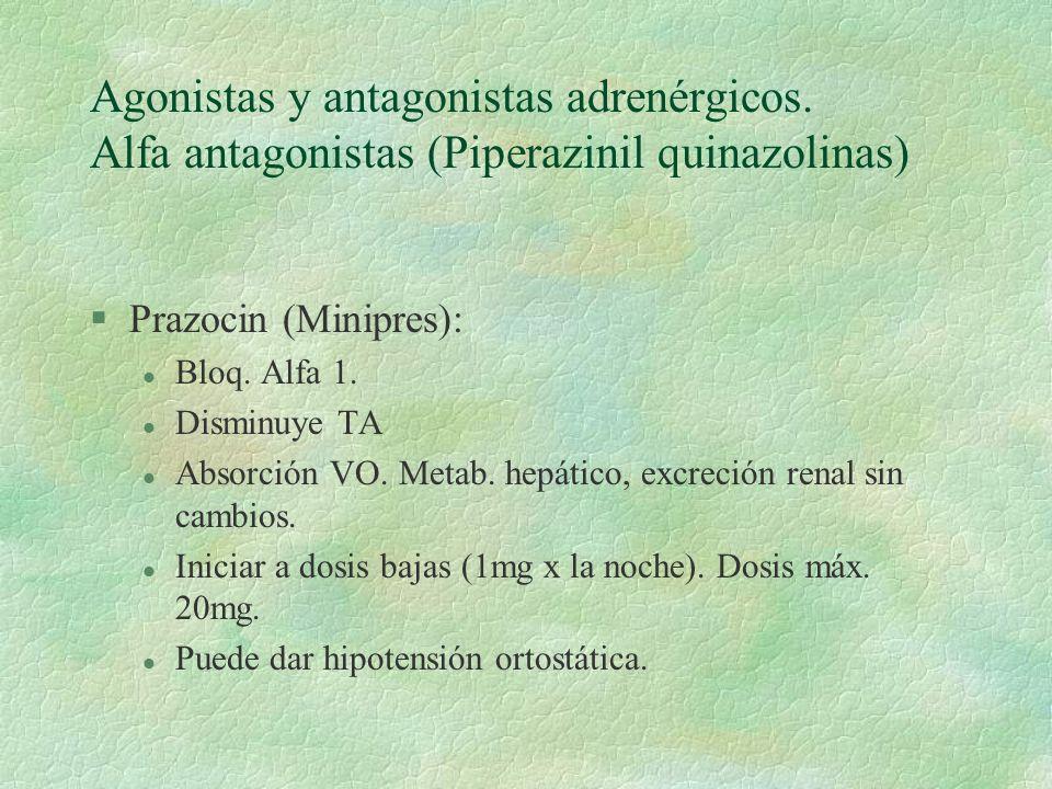 Agonistas y antagonistas adrenérgicos. Alfa antagonistas (Piperazinil quinazolinas) §Prazocin (Minipres): l Bloq. Alfa 1. l Disminuye TA l Absorción V
