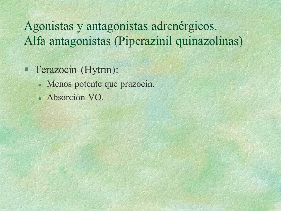 Agonistas y antagonistas adrenérgicos. Alfa antagonistas (Piperazinil quinazolinas) §Terazocin (Hytrin): l Menos potente que prazocin. l Absorción VO.