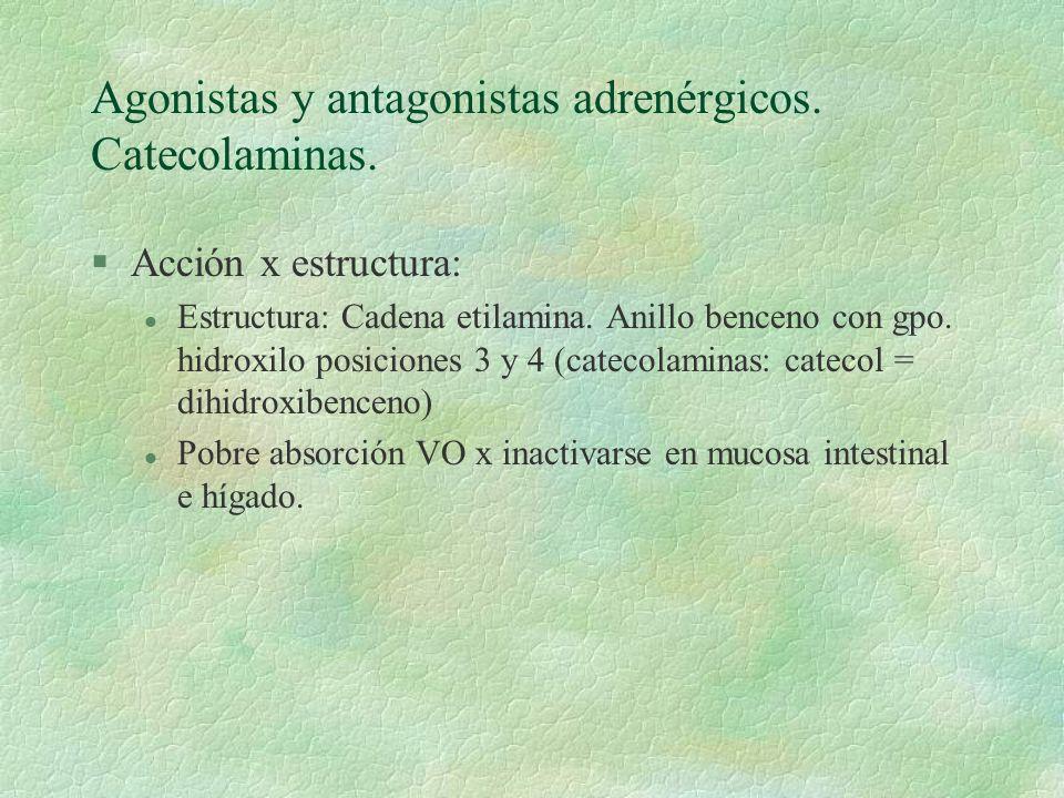 Agonistas y antagonistas adrenérgicos. Catecolaminas. §Acción x estructura: l Estructura: Cadena etilamina. Anillo benceno con gpo. hidroxilo posicion