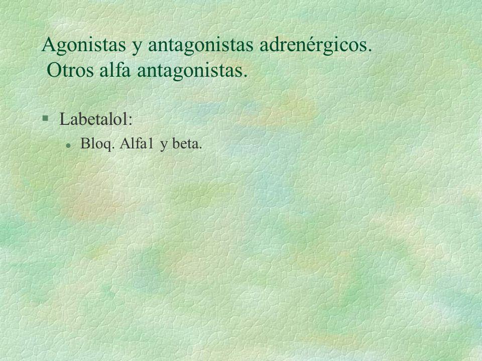 Agonistas y antagonistas adrenérgicos. Otros alfa antagonistas. §Labetalol: l Bloq. Alfa1 y beta.