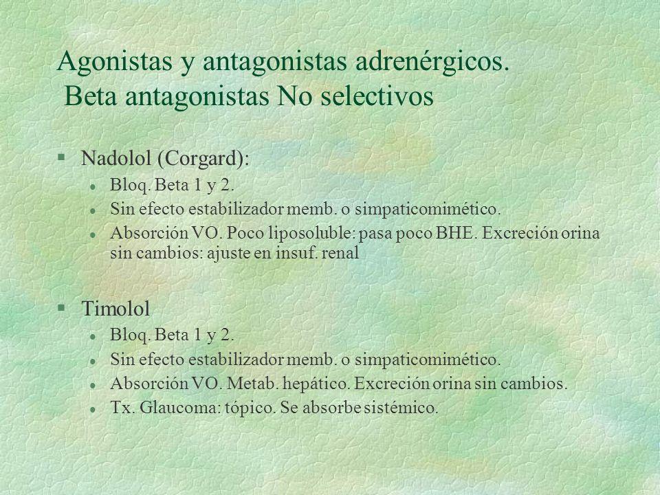 Agonistas y antagonistas adrenérgicos. Beta antagonistas No selectivos §Nadolol (Corgard): l Bloq. Beta 1 y 2. l Sin efecto estabilizador memb. o simp