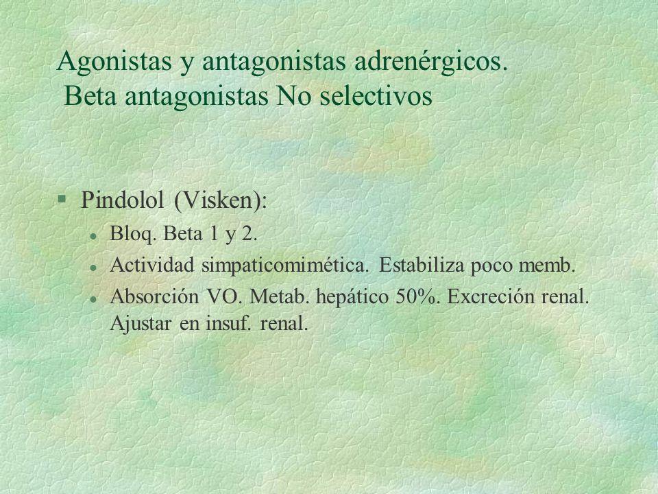 Agonistas y antagonistas adrenérgicos. Beta antagonistas No selectivos §Pindolol (Visken): l Bloq. Beta 1 y 2. l Actividad simpaticomimética. Estabili