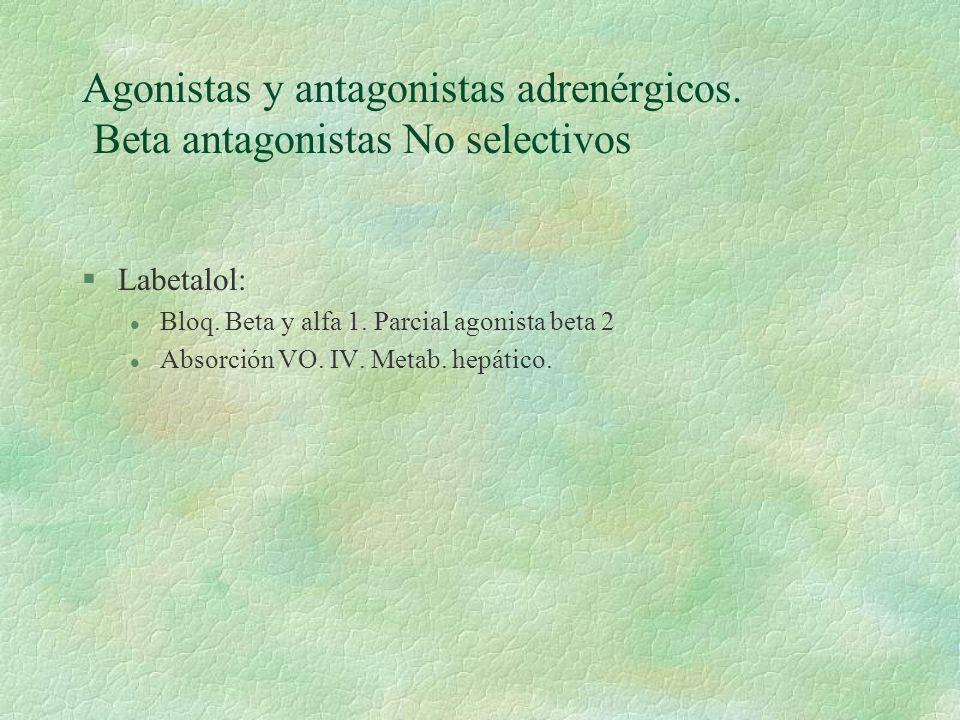 Agonistas y antagonistas adrenérgicos. Beta antagonistas No selectivos §Labetalol: l Bloq. Beta y alfa 1. Parcial agonista beta 2 l Absorción VO. IV.