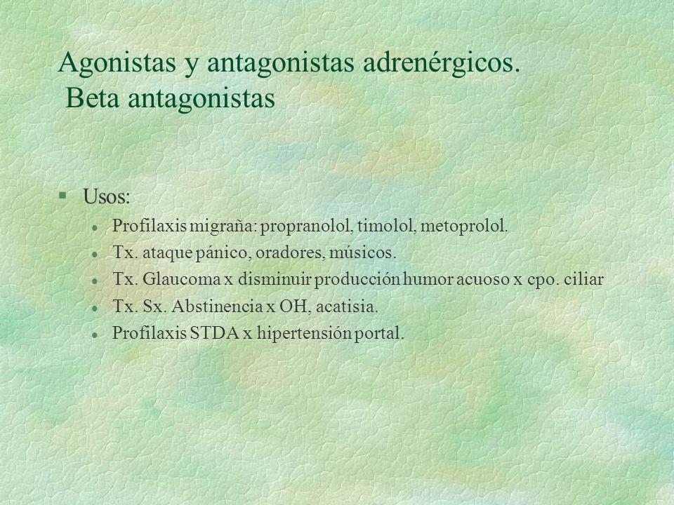 Agonistas y antagonistas adrenérgicos. Beta antagonistas §Usos: l Profilaxis migraña: propranolol, timolol, metoprolol. l Tx. ataque pánico, oradores,