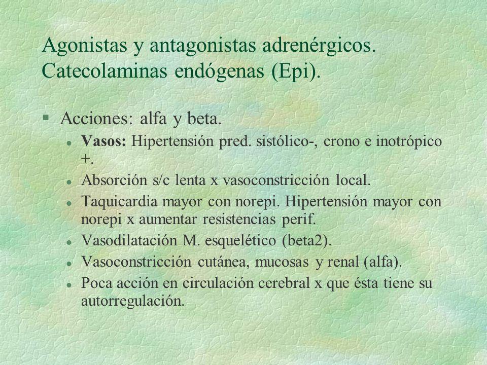 Agonistas y antagonistas adrenérgicos. Catecolaminas endógenas (Epi). §Acciones: alfa y beta. l Vasos: Hipertensión pred. sistólico-, crono e inotrópi