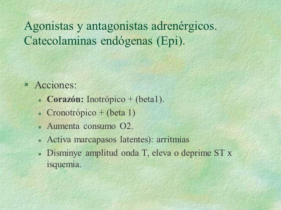 Agonistas y antagonistas adrenérgicos. Catecolaminas endógenas (Epi). §Acciones: l Corazón: Inotrópico + (beta1). l Cronotrópico + (beta 1) l Aumenta