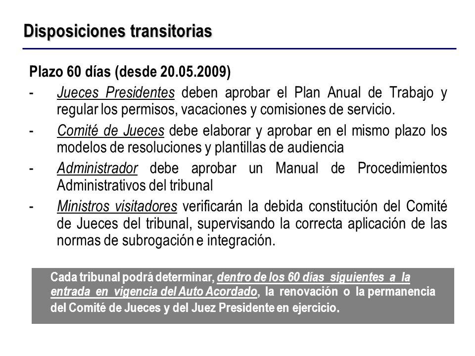 Plazo 60 días (desde 20.05.2009) - Jueces Presidentes deben aprobar el Plan Anual de Trabajo y regular los permisos, vacaciones y comisiones de servic