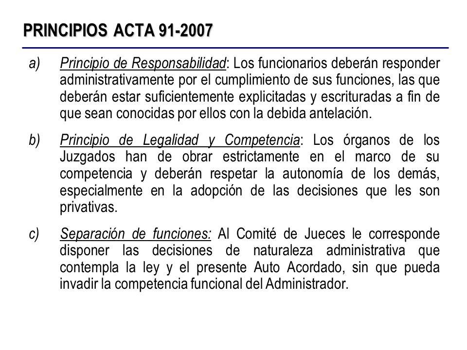 PRINCIPIOS ACTA 91-2007 a)Principio de Responsabilidad : Los funcionarios deberán responder administrativamente por el cumplimiento de sus funciones,