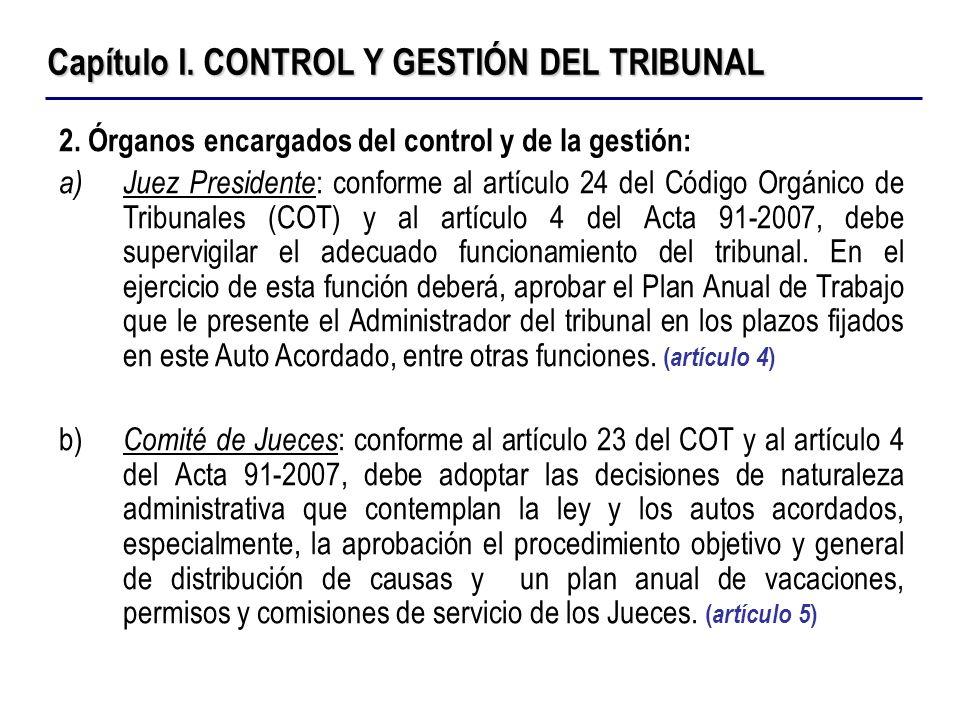 Capítulo I. CONTROL Y GESTIÓN DEL TRIBUNAL 2. Órganos encargados del control y de la gestión: a)Juez Presidente : conforme al artículo 24 del Código O