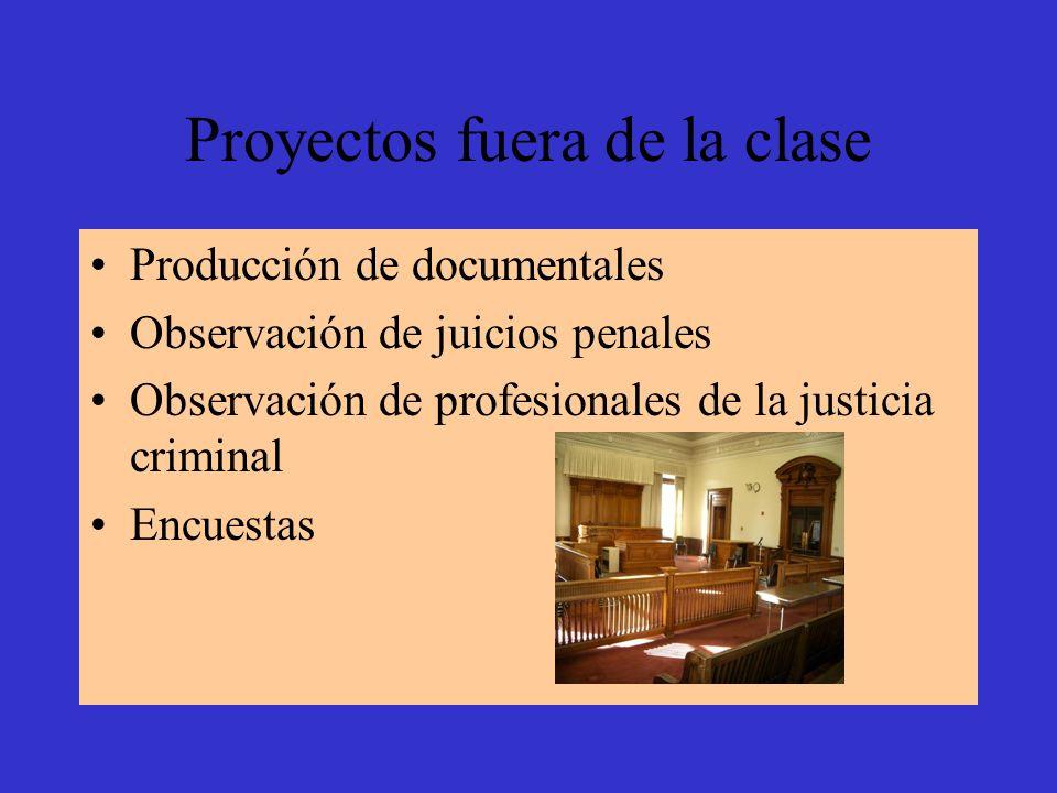 Proyectos fuera de la clase Producción de documentales Observación de juicios penales Observación de profesionales de la justicia criminal Encuestas