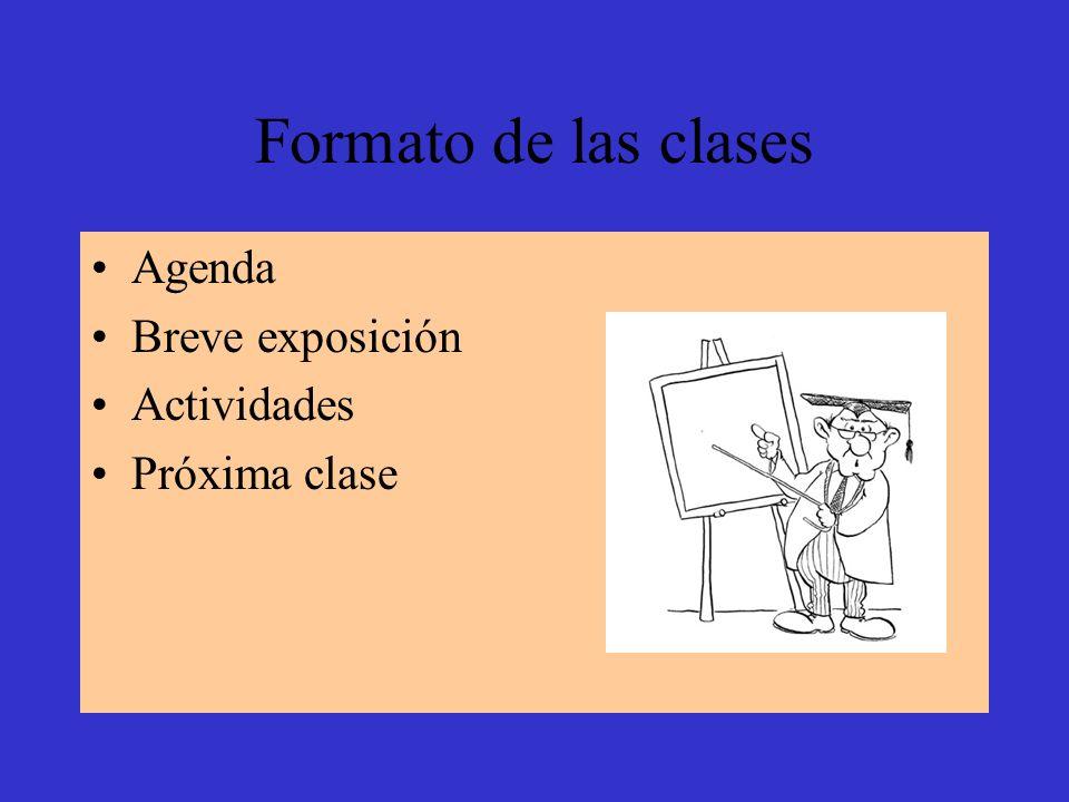 Formato de las clases Agenda Breve exposición Actividades Próxima clase