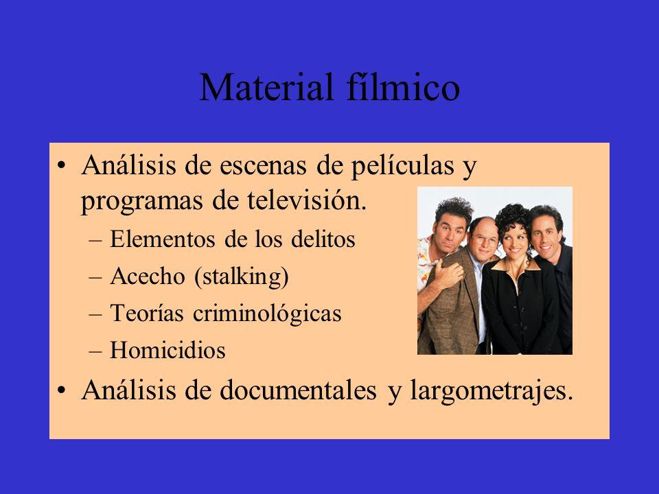 Material fílmico Análisis de escenas de películas y programas de televisión. –Elementos de los delitos –Acecho (stalking) –Teorías criminológicas –Hom