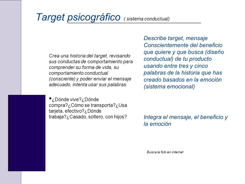 Target psicográfico ( sistema conductual) Crea una historia del target, revisando sus conductas de comportamiento para comprender su forma de vida, su