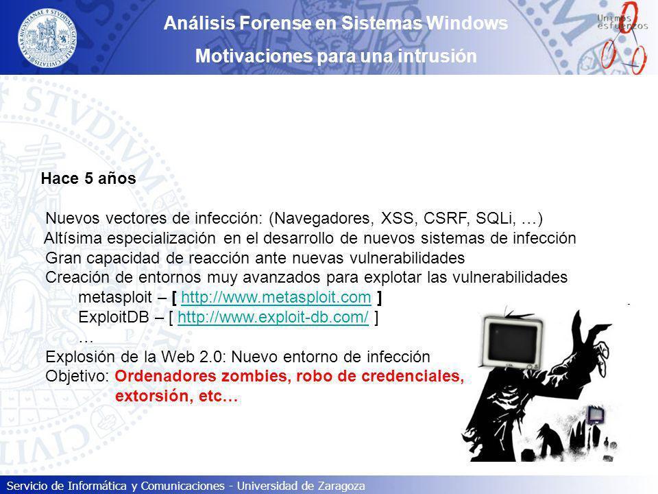 Servicio de Informática y Comunicaciones - Universidad de Zaragoza Análisis Forense en Sistemas Windows Motivaciones para una intrusión Hace 5 años Nu
