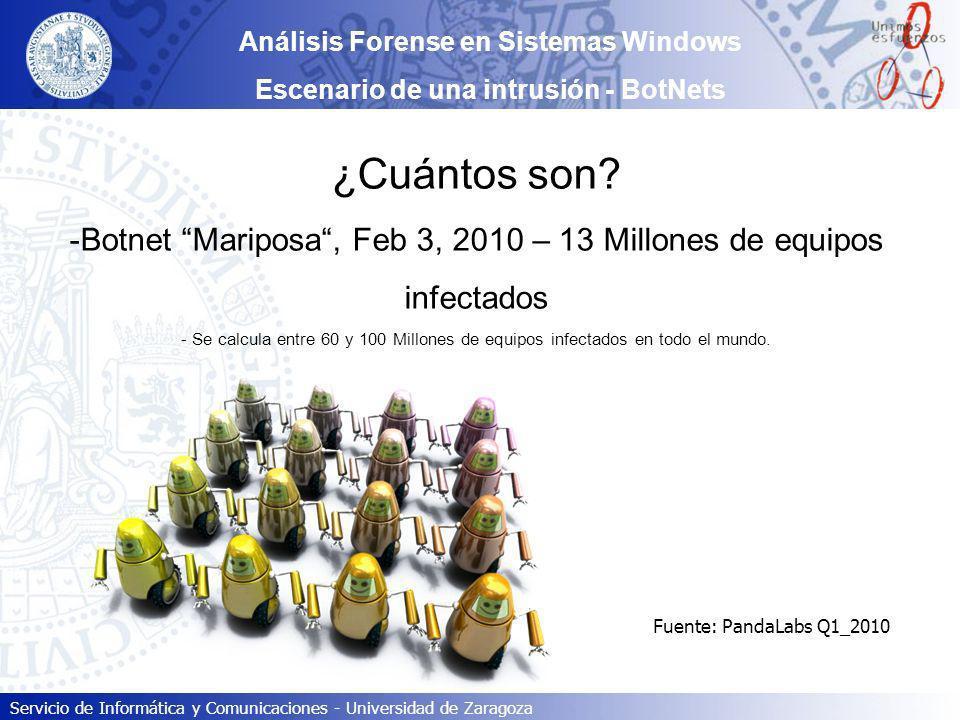 Servicio de Informática y Comunicaciones - Universidad de Zaragoza ¿Cuántos son? -Botnet Mariposa, Feb 3, 2010 – 13 Millones de equipos infectados - S