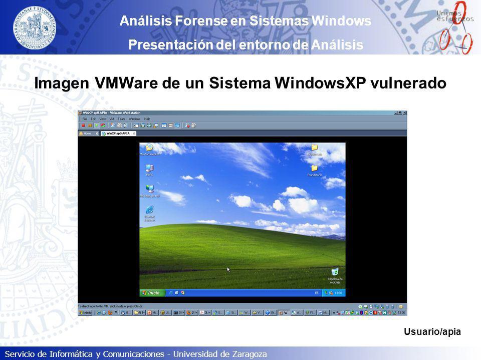 Servicio de Informática y Comunicaciones - Universidad de Zaragoza Análisis Forense en Sistemas Windows Presentación del entorno de Análisis Imagen VM