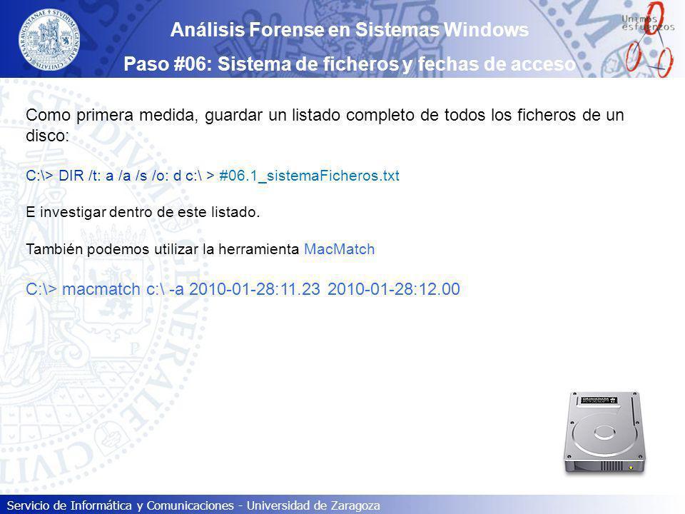 Servicio de Informática y Comunicaciones - Universidad de Zaragoza Como primera medida, guardar un listado completo de todos los ficheros de un disco: