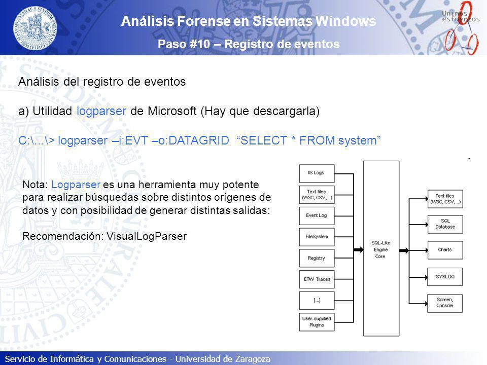 Servicio de Informática y Comunicaciones - Universidad de Zaragoza Análisis Forense en Sistemas Windows Paso #10 – Registro de eventos Análisis del re