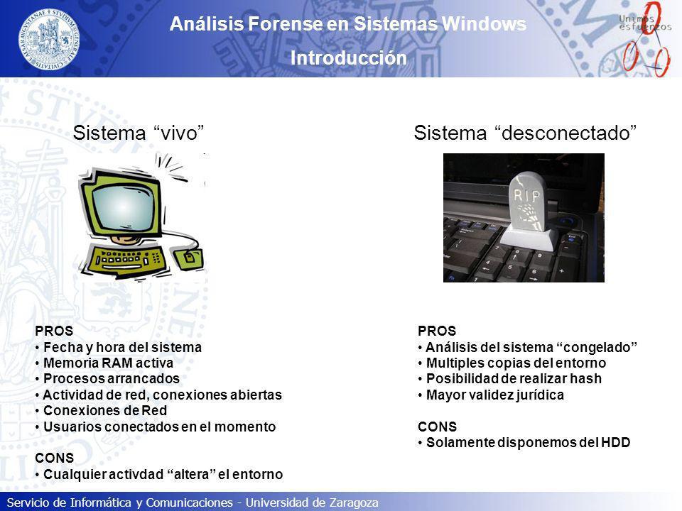 Servicio de Informática y Comunicaciones - Universidad de Zaragoza Análisis Forense en Sistemas Windows Introducción Sistema vivo Sistema desconectado